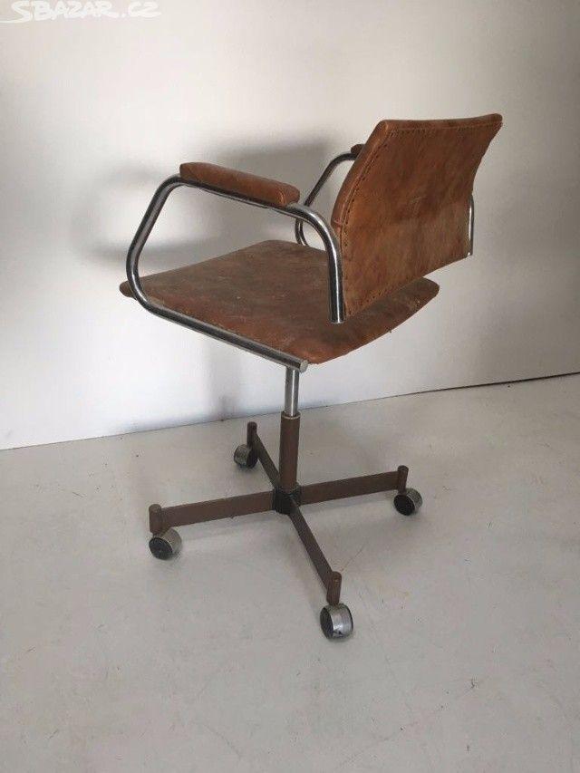 Chromová koženková židle křeslo industriální Chromová koženková - obrázek číslo 3