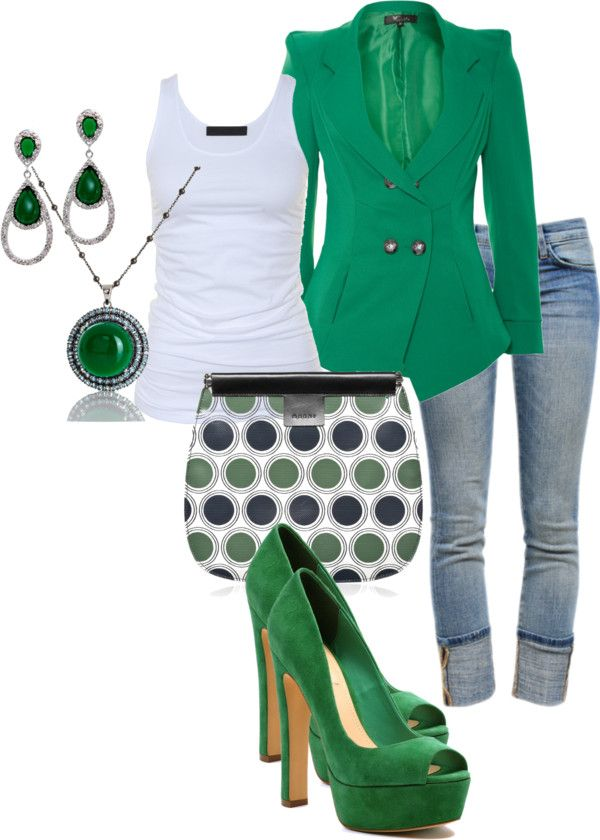 """Green With Envy"" by deborah-simmons on Polyvore: Green Jeans, Day Outfits, Casual Friday, Outfits Sets, Saint Patrick'S Day, Fall Outfits, Outfits Ideas, Night Outfits, Work Outfits"