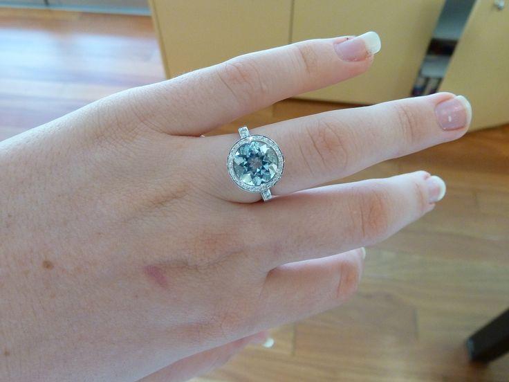 Stunning #Aquamarine and #Diamond white gold #engagement #ring !