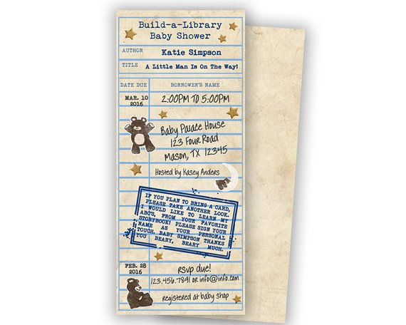 Vintage Library Card Baby Shower Invite  by PartyPrintExpress