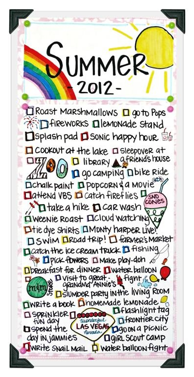 List of things to do this summer.