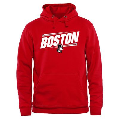 Boston University Double Bar Pullover Hoodie - Red