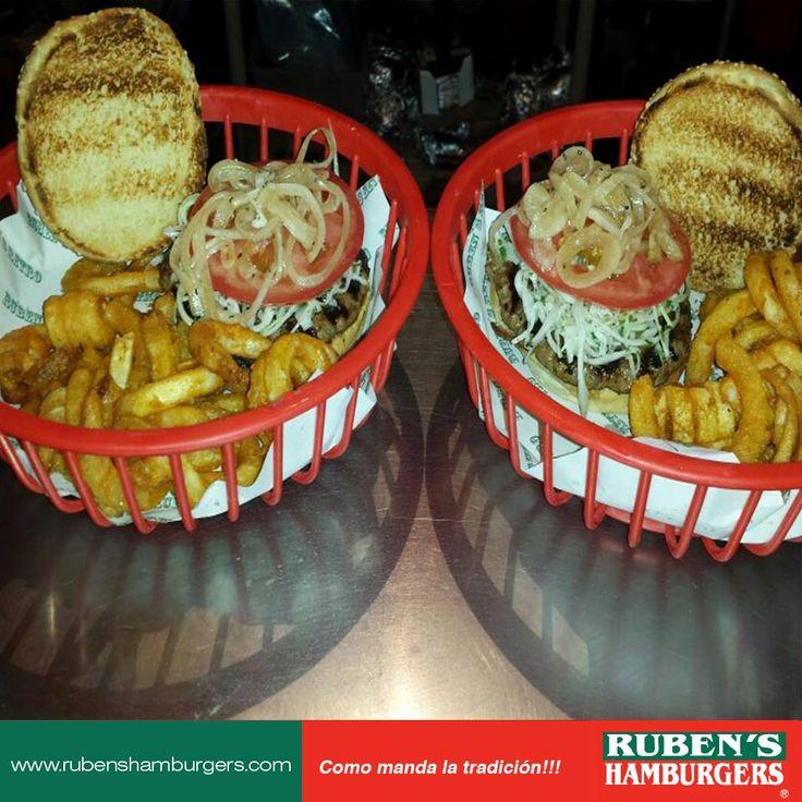 Platos con la receta tradicional como a tí te gusta. #Hamburguesas #RubensHamburgers