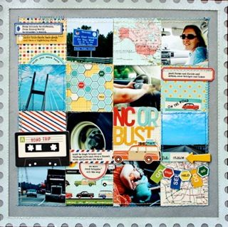 I like the grid.  This would be a good way to incorporate photos and memorabilia from a trip.