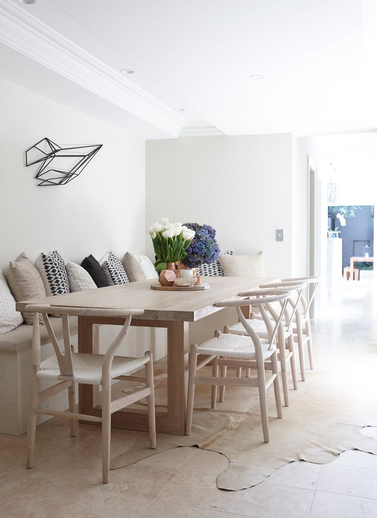 the tale of kym & hamish rundle - The Grace Tales Dining table with long built in bench seat. Table from MCM House