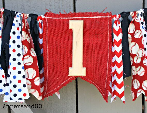 Etsy listing at https://www.etsy.com/listing/230074473/baseball-fabric-bunting-first-birthday
