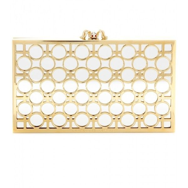 Charlotte Olympia Reflection Pandora Box Clutch found on Polyvore featuring bags, handbags, clutches, purses, gold, white clutches, charlotte olympia handbags, hard clutch, gold purse and gold clutches