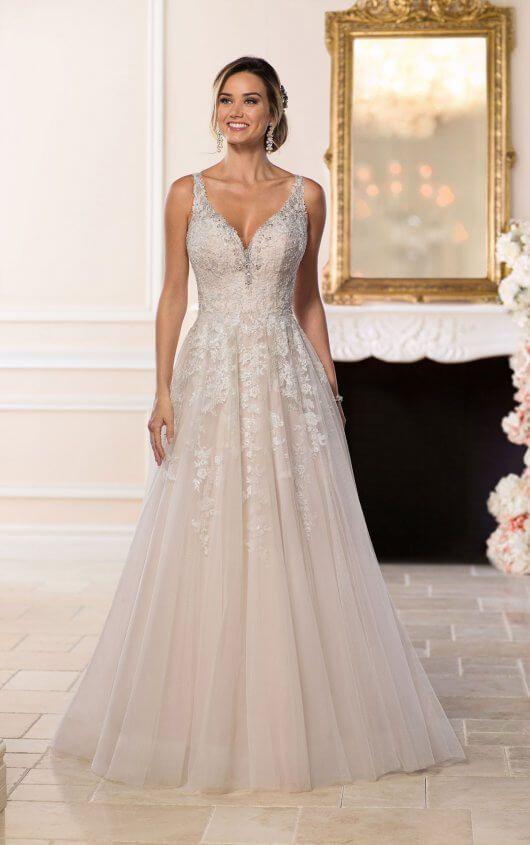 Weiß/elfenbein Chiffon Brautkleider Übergröße Spitze V-ausschnitt Strand Kleider Fein Verarbeitet Brautkleider