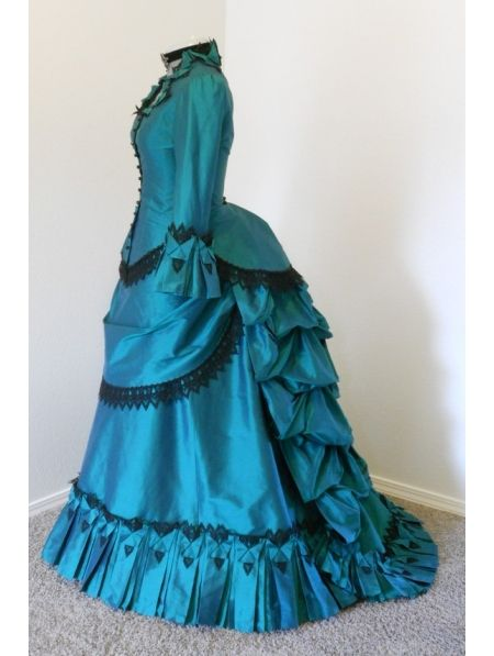 Blue Taffeta Victorian Bustle Ball Gown Dress Victorian Bustle Dress Costume-in Dresses from Women's Clothing & Accessories on Aliexpress.com | Alibaba Group
