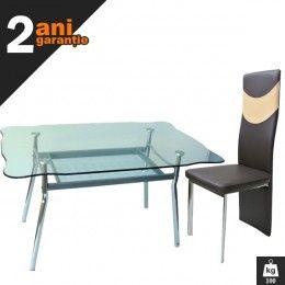Set masa sticla B918 cu 4 scaune este un set gandit special pentru cei care vor sa lase o buna impresie musafirilor. Indiferent unde amplasezi acest set, incaperea va capata un aspect modern.