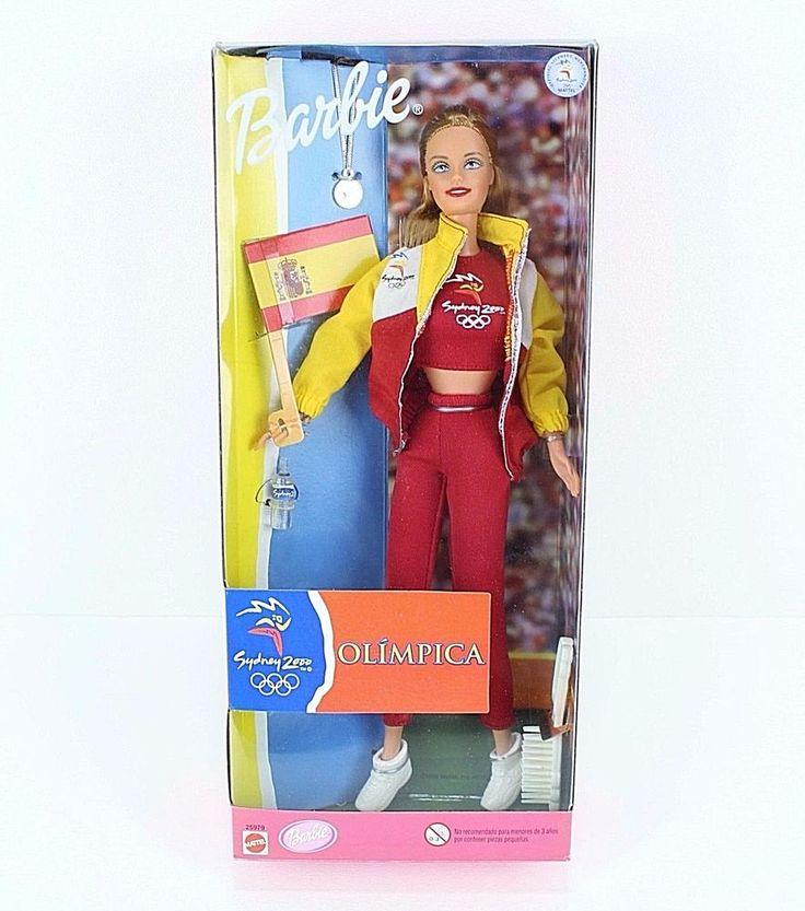 Barbie Doll Olympic Sydney 2000 Spain Fan Spanish Flag Mattel 1999 #Mattel #DollswithClothingAccessories