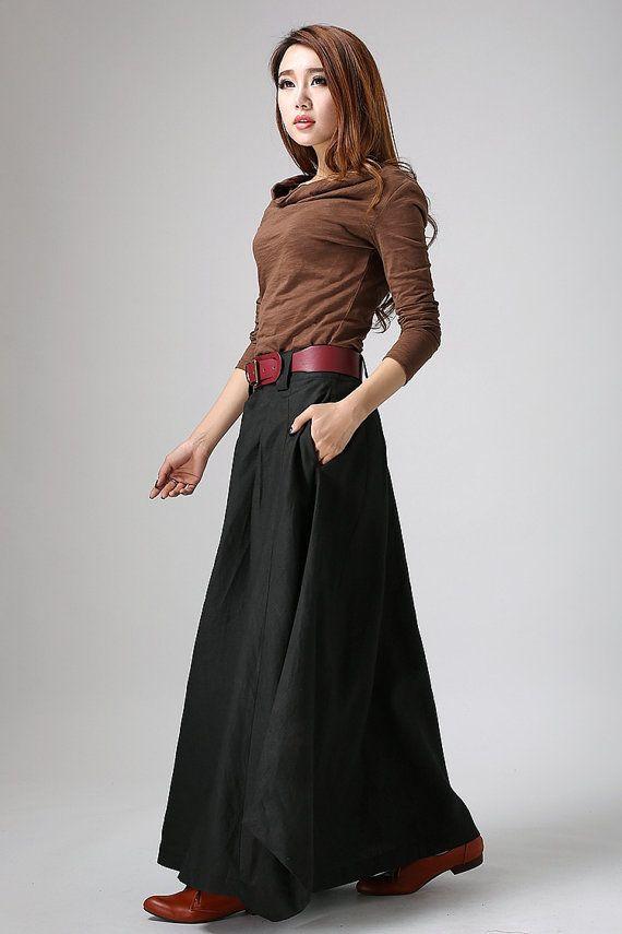 woman maxi skirt  Black skirt  long  linen skirt  custom made (902)