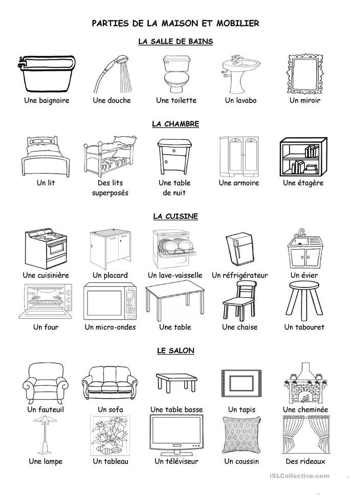 les 47 meilleures images du tableau voc maison sur pinterest cours de fran ais fran ais et. Black Bedroom Furniture Sets. Home Design Ideas