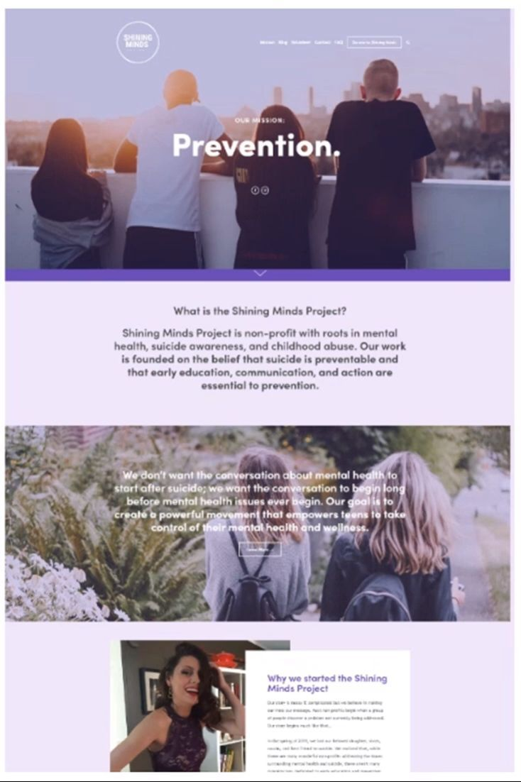 Karimacreative Minimal Website Design For A Non Profit Organization Shining Minds Proj Nonprofit Website Design Business Website Design Minimal Website Design