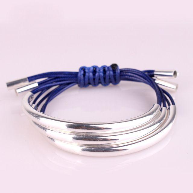 2015 роскошный блестящий многослойные серебряная труба плетеные кожаные браслеты каната цепи браслеты браслет украшения для женщин мужчин