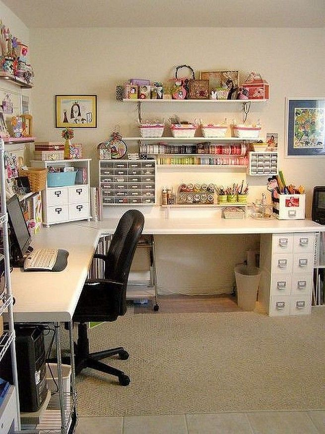 How To Create An Inspiring Home Office Space Home Office Ideas Home Work Space Home Office Decorations Sewing Room Design Craft Room Decor Scrapbook Room