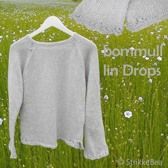 Så har jeg fått denne genseren ferdig til meg selv. Denne er strikket i Bommull Lin fra Drops på pinner nr. 5mm. strikket med enkel hullbord...