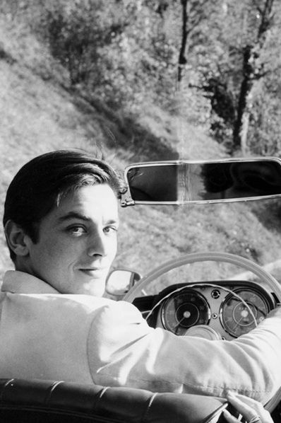 French actor Alain Delon in a car
