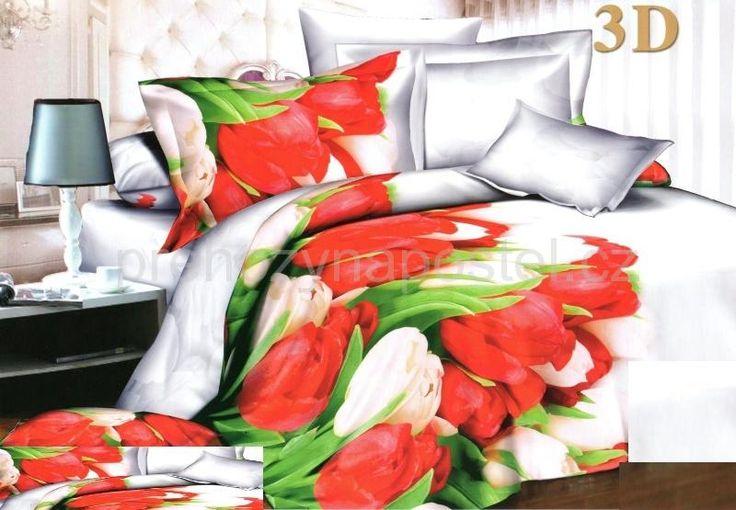 Bílé ložní povlečení s bílými a červenými tulipány