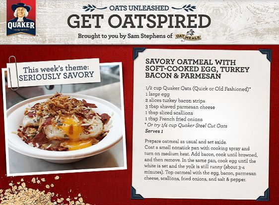 Savory Oatmeal With Soft-Cooked Egg, Turkey Bacon and Parmesean