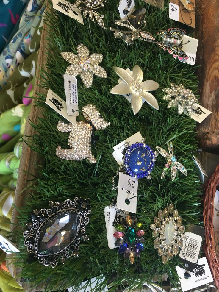 Sparkly brooch selection.