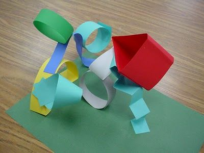 kindergarteners learned to make 3-d forms from 2-d papers