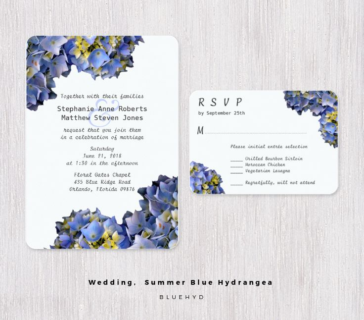 Light blue hydrangea wedding, custom invitations and reply cards.Realistic floral images make interesting and beautiful stationery.