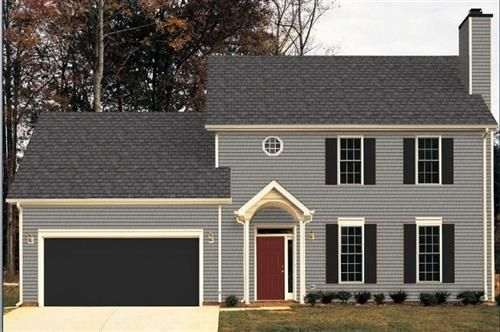Light grey house with dark grey shutters and dark grey - What color door goes with gray house ...