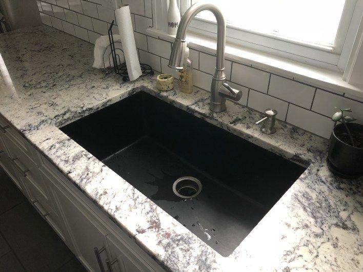 black kitchen sink white granite