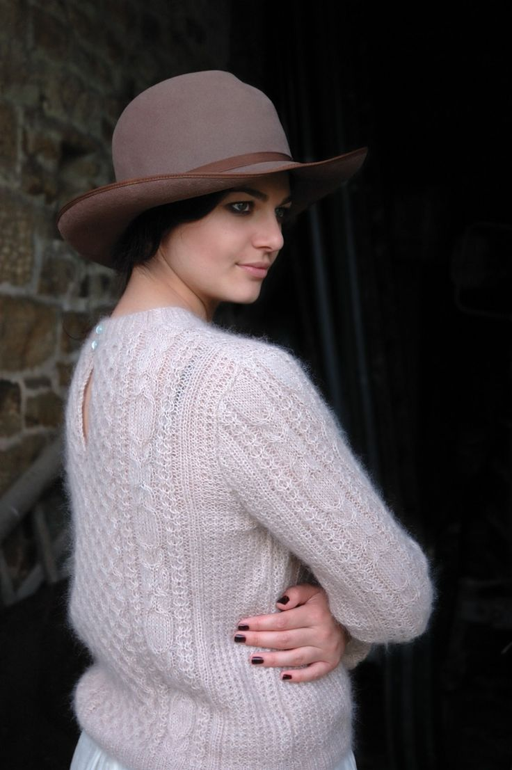 SCARLET, CRAFT pretty cabled sweater with back button fastening. Rowan Kidsilk Haze/Pearl  | Kim Hargreaves