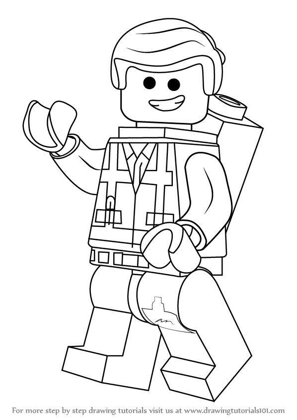 Learn How To Draw Emmet Brickowski From The Lego Movie The Lego Movie Step By Step Drawing Tuto Lego Coloring Pages Lego Movie Coloring Pages Lego Coloring