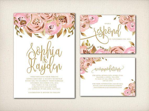 Wedding Invitation Gold Foil Blush Gold Floral Invitation Pink