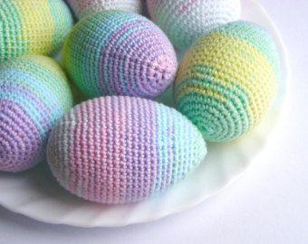 Paște ouă croșetat, deocration Paști, decor de primăvară, set de 3, ornamente de Paști, decor vacanțe casa acasă, pastel curcubeu