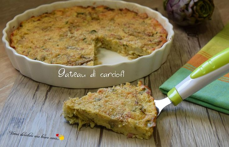 l gateau di carciofi è davvero fantastico ed è un'ottima torta rustica da preparare in vista di gite o per cene con amici o per feste e buffet.