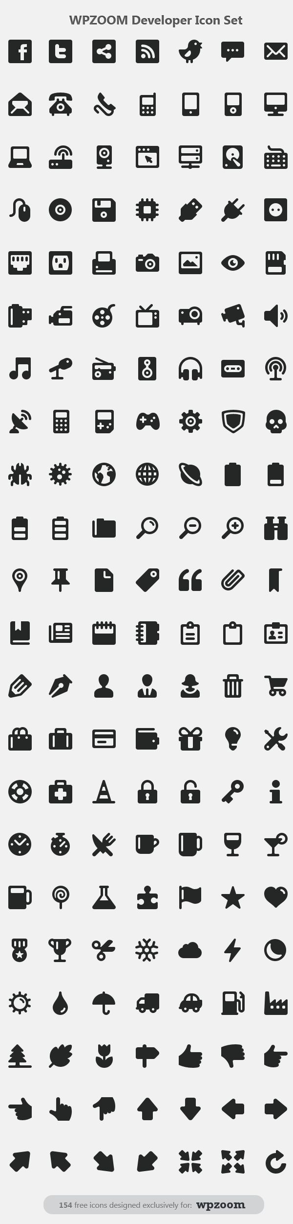 154 free developer icon set in PNG and PSD format