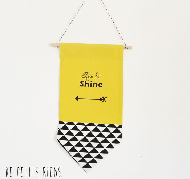 Bannière fanion plaque de porte - décoration murale - chambre enfant bébé - tissu - bois -jaune, noir et blanc : Décoration pour enfants par de-petits-riens
