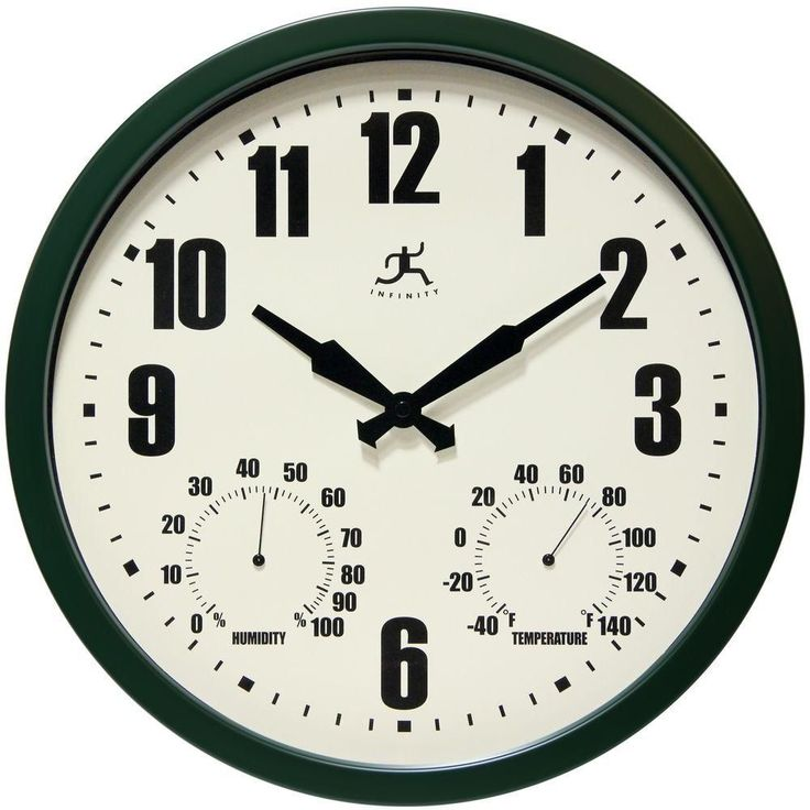 Infinity Instruments Patio Green 14 in. x 14 in. Round Indoor Outdoor Wall Clock #InfinityInstruments #Contemporary