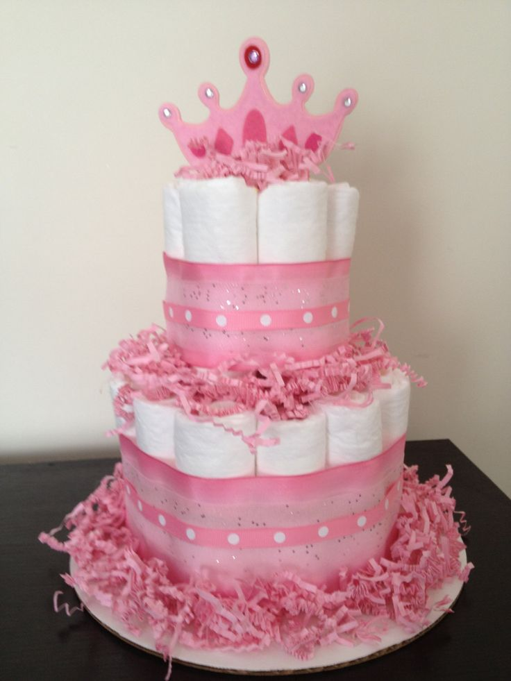 pinterest baby shower decoration diaper centerpiece | ... of mini 2 tier princess diaper cake girl baby shower pink wallpaper