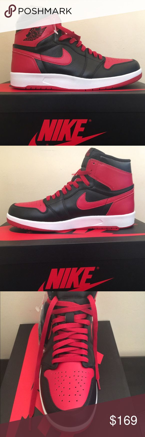"""Air Jordan 1 The Return """"Banned"""" 9.5 Air Jordan The Return features a Air Jordan 2 sole with an Air Jordan 1 upper. The colorway is the same as the original Air Jordan sneakers sold in 1985, now known as the """"Banned"""" colorway. It comes with the original box and a set of black laces still attached to the shoe. They are new and have never been worn. Jordan Shoes Athletic Shoes"""