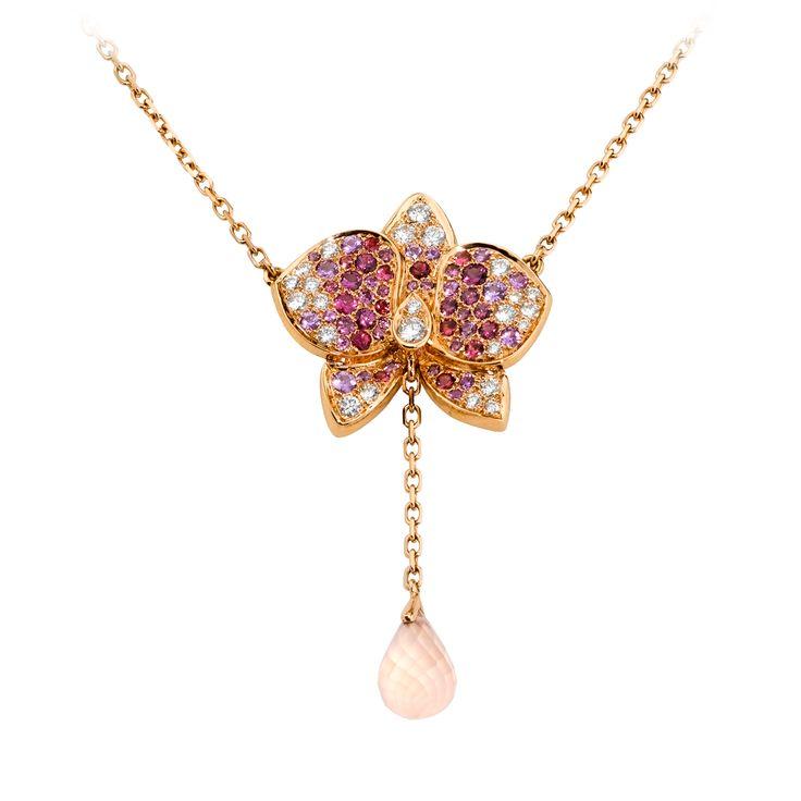 RESSE D'ORCHIDÉES PAR CARTIER NECKLACE, 18K pink gold Y shape necklace set with 1 pink quartz briolette cut drop, diamonds, pale pink sapphires, rhodolite garnets, dark pink tourmalines.
