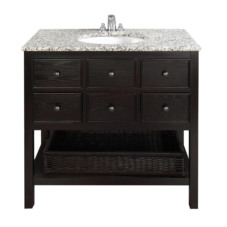 "$759.99 The Simple Home Burnaby 36"" Vanity is defined by its casual contemporary look. The collection comes includes grey granite marble tops and oval white vitreous china sinks."