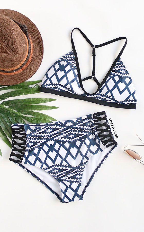 Geometric Print Criss Cross High Waist Bikini Set