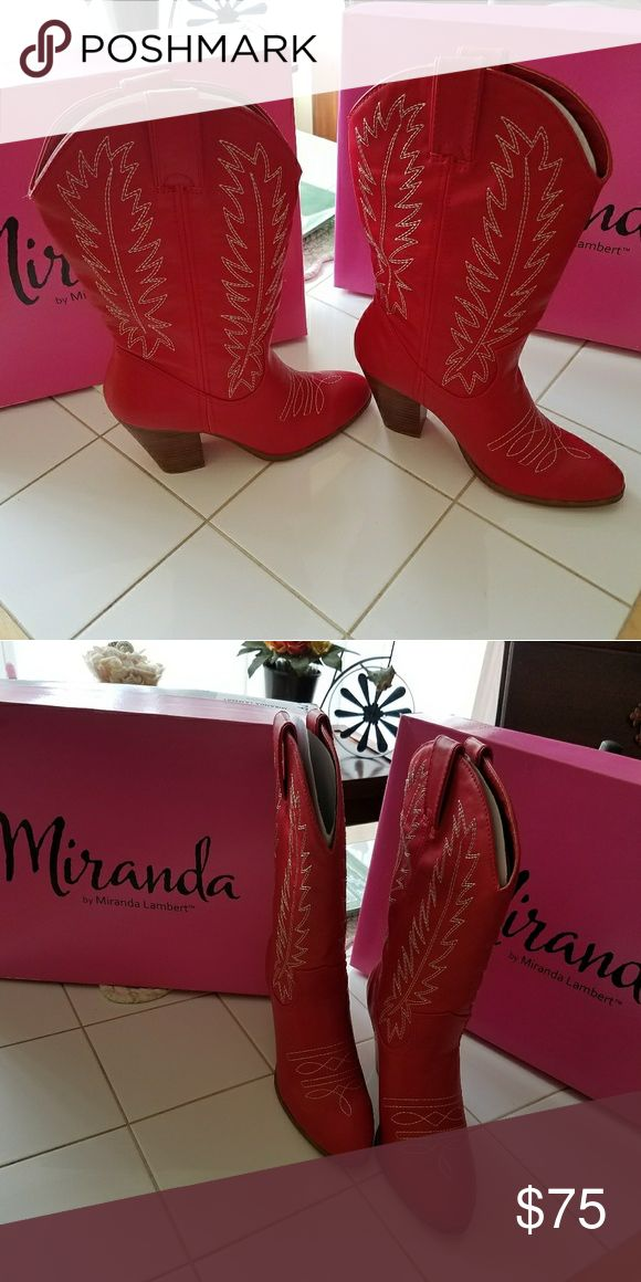 Red Cowgirl boots New, never worn. Red boots Miranda Lambert Shoes Heeled Boots