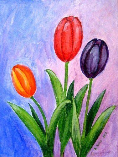 Cute Easy Tulip Flower Painting In 2019 Tulip Painting