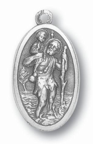 "1.5"" Silver Oxidized Saint Christopher Medal"