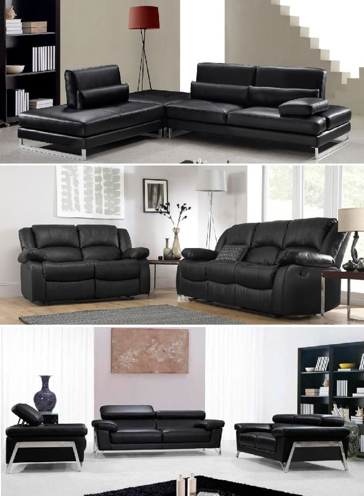 Living Room Design with Black Leather Sofa