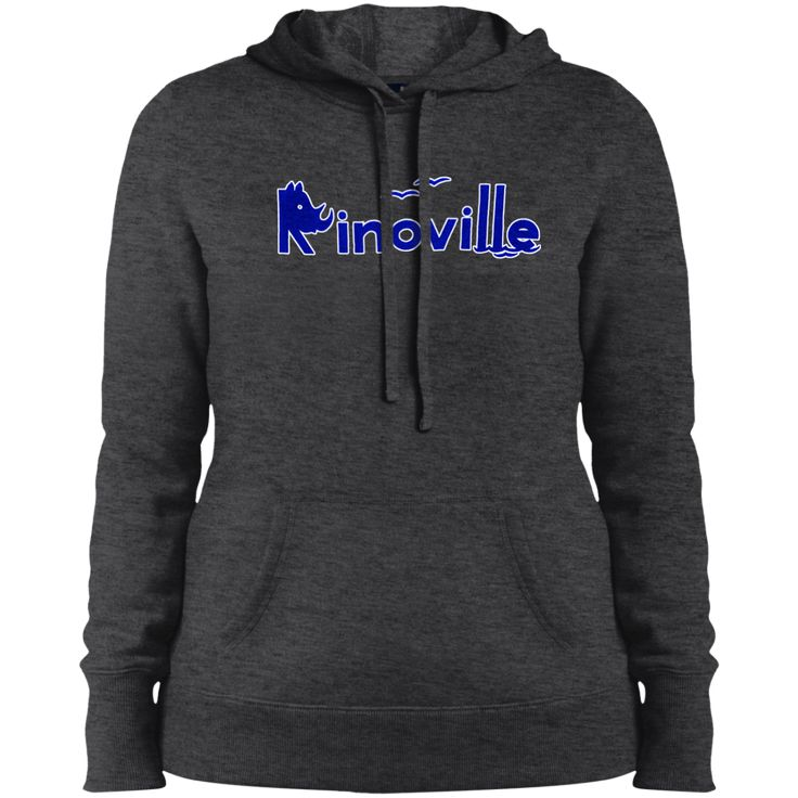 Rinoville Blue logo with white outline Ladies Pullover Hooded Sweatshirt