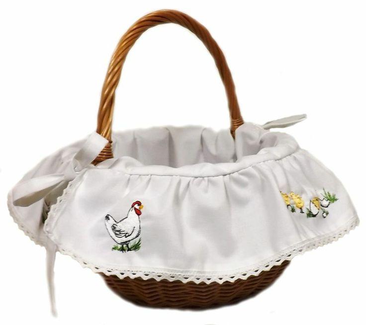 Koszyk, koszyczek Wielkanocny KURCZĘTA haftowany!