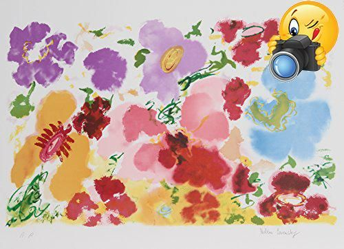 Abstract expressionist artist Helen Covensky (1925-2007) shows an array of #colorful flowers, with red #petals spread throughout the composition, in this lithogra...