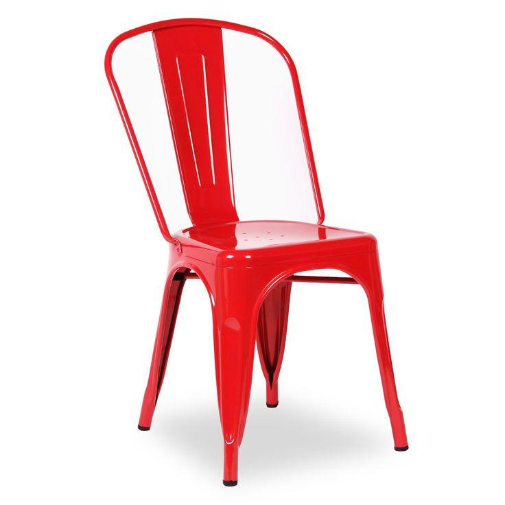 Inspiré par la chaise Tolix A de Xavier Pauchard.     Fabriqué en acier de haute qualité.     Disponbile en plusieurs couleurs.     Pour usage en intérieur uniquement.  La Chaise TEREK est l'union parfaite entre le confort et le design. La structure métallique est moderne pratique, unique et apporte une touche de chic industriel.       Elle est apilabe et comment elle est faite en acier, résiste parfaitement un usage très fréquent. Pour cette raison, elle est la pièce préférée dans de n...
